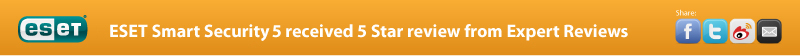 ESET Smart Security 5 received 5 Star review from Expert Reviews
