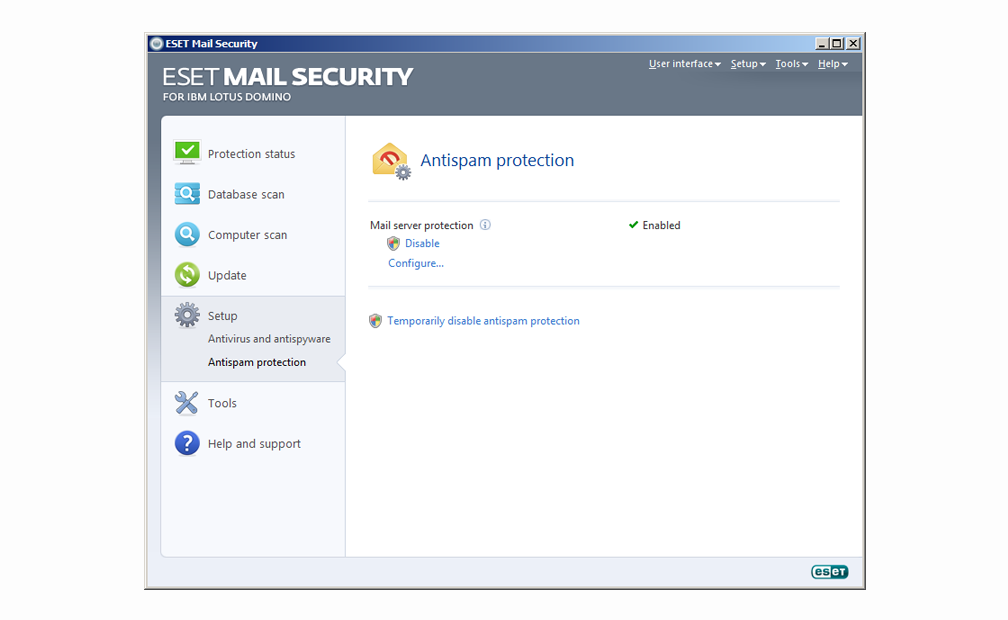 ESET Mail Security for IBM Lotus Domino - Setup - Antispam protection